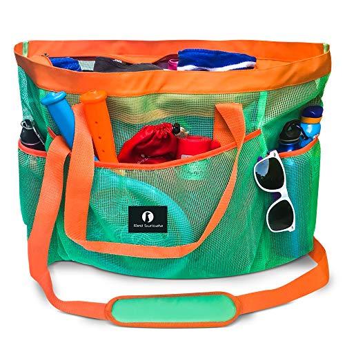 commercial Red Sri Carter Large Mesh Beach Bag – Beach Bag & Tote Bag (Turquoise / Orange) family beach bag
