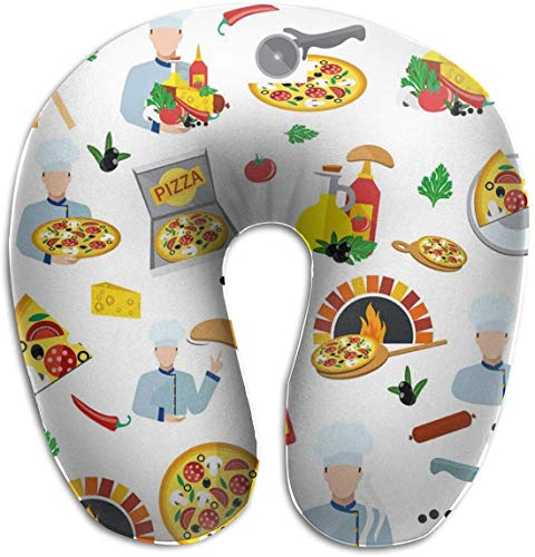 Memory Foam Nek Kussen Pizza Maker U-Shape Reizen Kussen Ergonomisch Gecontroleerd Ontwerp Wasbare Cover voor Vliegtuig Trein Auto Bus Kantoor