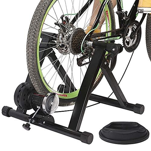 Bakaji Bike Trainer Biciletta Indoor Supporto Rullo Magnetico 6 Livelli di Resistenza Allenamento Cardio Fitness Bici Mountain Bike da Interno in Acciaio Piedini Regolabili Struttura Pieghevole