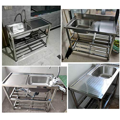 KITCHEN SINK Simple with Bracket, Commercial Stainless Steel Sink, Reinforced Bracket for Outdoor use, with Operating Table, Easy Installation of Assembly Bracket
