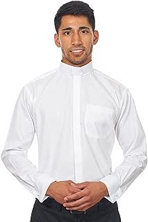 Men's Long Sleeves Tab Collar Clergy Shirt White