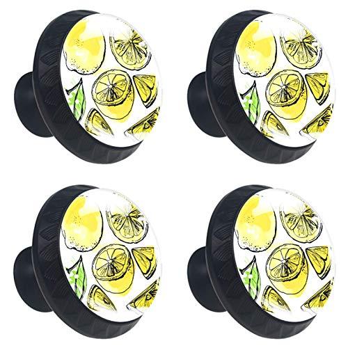 4 pomos para armarios de cocina de 3,8 cm con tornillos para cocina, aparador, armario, baño, armario, frutas cítricas, amarillo limón (3)