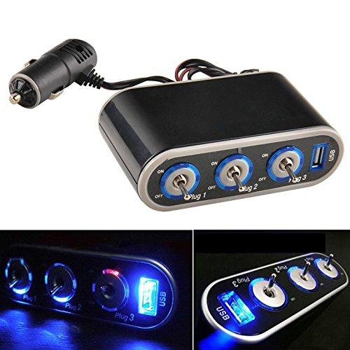 Caxmtu Prise allume-cigare 3 voies 12 V chargeur USB triple prise avec lumière LED 11 cm x 6,1 cm x 3,5 cm Noir