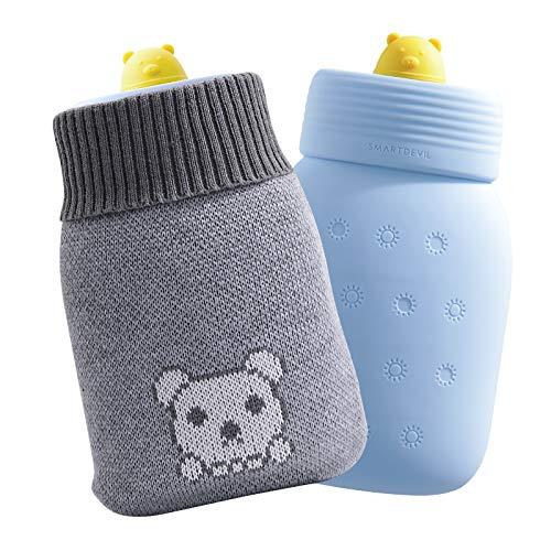 SmartDevil Borsa dell'acqua calda, mini borsa dell'acqua calda per microonde con fodera in maglia con motivo a orsetto, borracce premium per acqua calda adatte a uomini, donne e bambini-Blu