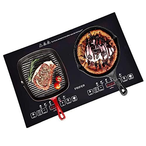 Induktionskochplatte, Glaskeramikkochfeld, Doppel Induktionskochfeld 2 Kochzonen, GlasKeramik Panel mit Sensor Touch, 2000W Infrarot Wärme, Timer, Sicherheitssperre, 6 Modi und 7 Temperaturen