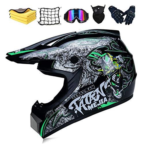 Fullface - Casco de protección para motocross, dot certificed adulto, casco para niños con gafas, guantes y máscara, unisex (A,XL)