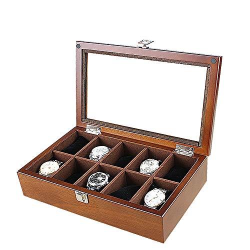 AXROAD MALL AXROAD MALL Uhrenbox Schmuckschatulle Abschließbare 10-Fach Vitrine for Herren und Damen Massivholz Aufbewahrungsbox aus Glas