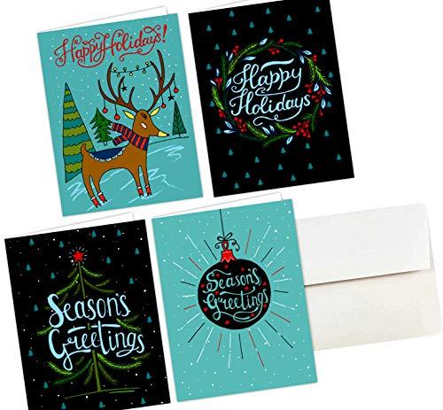 Christmas Postcards Bulk, One Jade Lane - Merry Holiday POSTCARDS - 40 Ct Christmas Cards - 4 Designs/10 of each - Heavy Stock - Postage Saver.