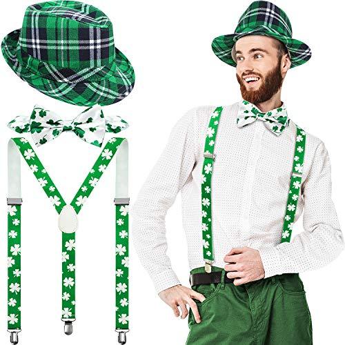 SATINIOR St. Patrick's Day Hut Grün Karierten Stoff Hut Fliege und Hosenträger Irisch Party Kostüm für Männer und Damen(Kariert und Klee Stil)