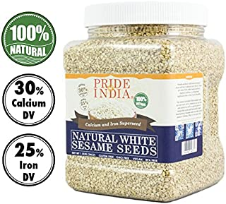 Pride Of India - White Sesame Seeds Unhulled - Calcium & Iron Superfood, 1.25 Pound (20oz) Jar