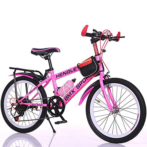 Children's bicycle LLL 6-7-9-10-15 Years Old Baby Carriage 18/20/22 inch Boys and Girls Pupils Variable Speed Mountain Bike (Color : Pink, Size : 22')