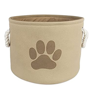 Bone Dry DII Small Round Pet Toy and Accessory Storage Bin, 12 (Dia) x9(H), Collapsible Organizer Storage Basket for Home Décor, Pet Toy, Blankets, Leashes and Food-Taupe with Brown Paw