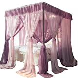 Netificación de cama con dosel de niñas, columna de 4 ángulos elegante cama de cama de cama de mosquitera para cubrir camas, cunas, hamacas - fácil de montar (tamaño: para 1,8m / 6 pies cama) MISU