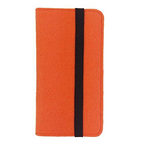 handy-point Universell Organizer für Smartphone Tasche aus Filz Filztasche Filzhülle Hülle Schutzhülle mit Kartenfach für Samsung, iPhone, Huawei (5,6-6,4 Zoll max 18x9,3cm, Orange)