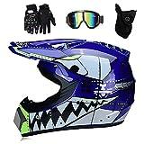 LALAGOU - Casco de motocross MX para niños, apto para diferentes grupos de casco de tiburón, multicolor, gafas, guantes, máscara, para BMX, MTB, ATV, DOT certificado, azul, S (52-53 cm)