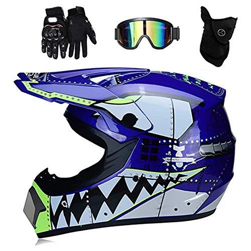 ZHUOYU Casco de motocross, casco integral Downhill Enduro, casco juvenil para moto de cross, forma de tiburn, certificacin DOT, ATV/MTB/MX, gafas, guantes/mscara (largo 56-57 cm), A)