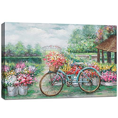 Bicicleta y jardin Estirado Marco de madera Cuadros en Lienzo Cuadros Modernos Impresión de Imagen Lienzo Pintura Decorativo para sala de estar dormitorio cocina oficina bar Listo para colgar 40x60cm