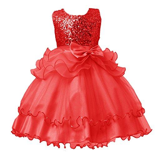 DISSA Vestido de tul para niña con flores C812 rojo 110 cm