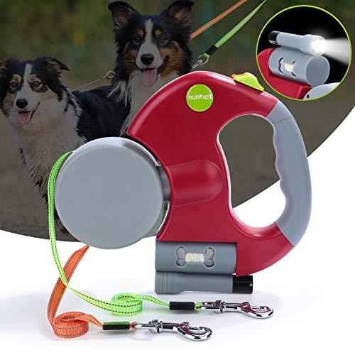 Nunbell 2 Dog Leash Retractable, Double Dog Leash, Dual Dog Leash for Small-Medium Dogs, 10FT/3M Retracting Doggie Leash with Bag Dispenser + Bright Flashlight