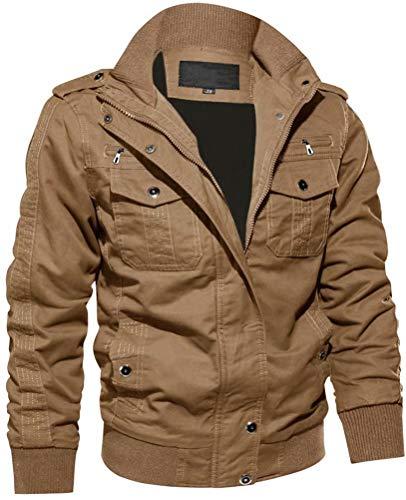 Men Jacket Casual Lightweight Military Winter Bomber Jackets Warm Cotton Cargo Windbreaker Khaki