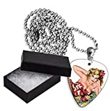 50s Pin Up Girl Flower In Hair Boxed Metal Guitarra Pick Necklace Collar (GD)...