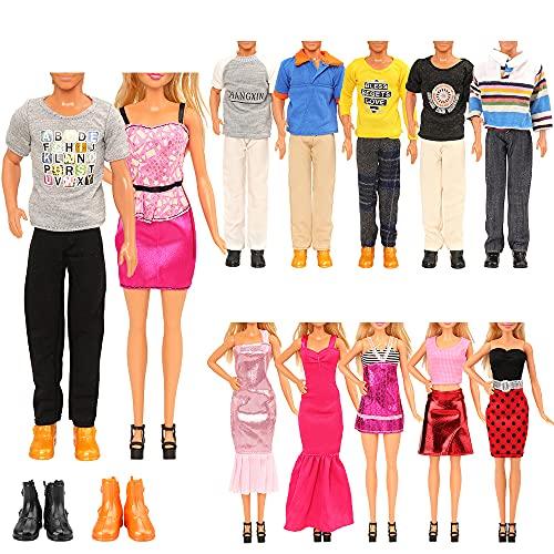 Miunana 15 Puppen Kleidung Schuhe Kleider Bekleidung Puppenkleidung Zubehör, 5 Kleidung 5 Hosen 2 Schuhe für Jungen Puppen 3 Kleider Outfits für 11,5 Zoll Mädchen Puppen