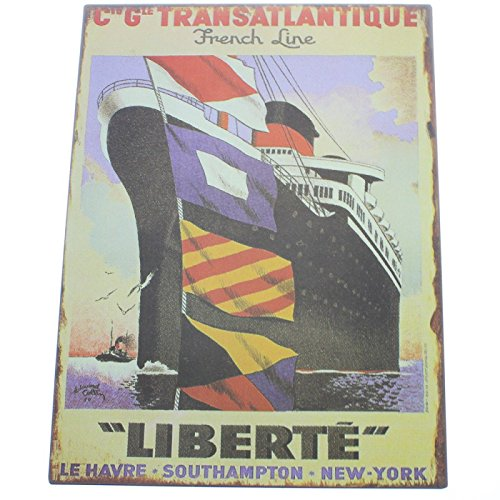plaque murale métal déco Liberté 24 x 32 cm