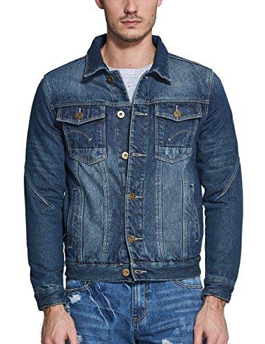SSLR Men's Winter Rugged Fleece Lined Denim Jackets Coat (Medium, Blue)