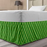 Ambesonne Irish Elastic Bed Skirt, Retro Pattern in Vivid Green Cultural Checkered Traditional Tile, Wrap Around Fabric Bedskirt Dust Ruffle for Bedroom, Twin/Twin XL, Green Lime Green