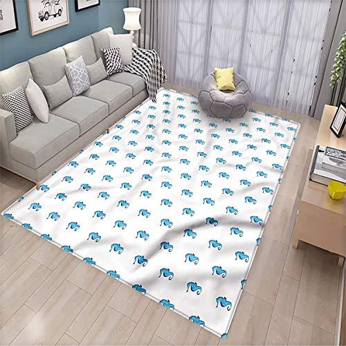 Sea Horse Bedroom Home Floor Mat Hippocampus Watercolor Patio Door Floor mat Non-Slip Decoration