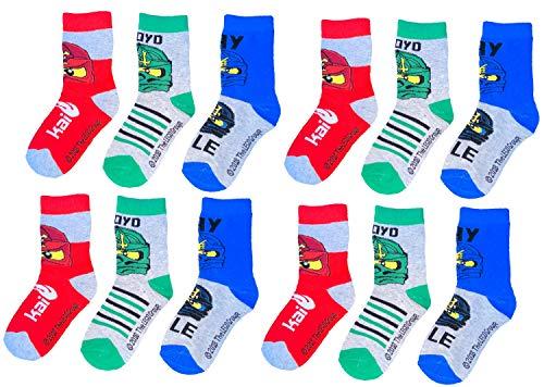 TVM Europe GmbH LEGO NINJAGO Socken Set 12 Paar Kindersocken Kinder Strümpfe für Jungen OEKO-TEX 100 grau Gr.27/30 31/34 35/38 (31/34)