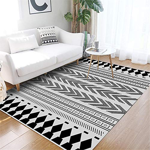 WQ-BBB Washable simplicity Rugs Simple black and white decoration kitchen rug ethnic style design dosen't shed kids rugs 120X160cm