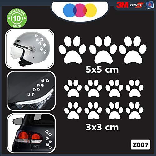 10 zampette adesive Adesivi per Auto Moto CASCHI - - 3 Adesivi 5X5 Centimetri - 7 Adesivi 3X3 Centimetri - Auto Macchina - novità!! Auto Moto Camper, Stickers, Decal Z-001-7 (Bianco)