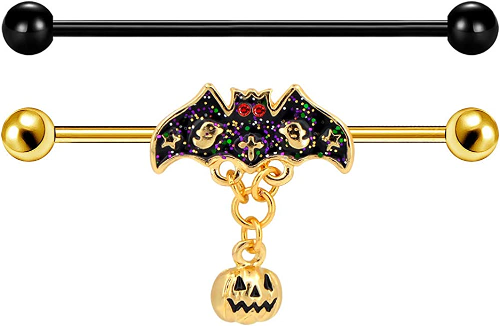 Jewseen 2PCS 14G 316L Stainless Steel Halloween Day Industrial Piercing Bars Gold Bat Industrial Barbell Industrial Barbell