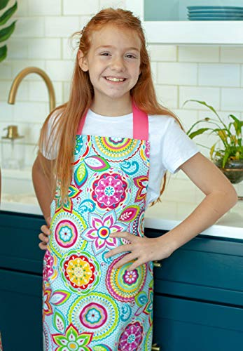 Colorful Pink Floral Handmade Art Craft or Baking Apron Gift for Tween Girl