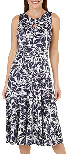 Julian Taylor Women's Floral Printed Belted A-line Dress, Navy/Ivory, 14