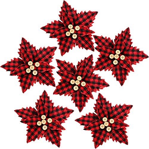 FUNARTY 10 Pieces Artificial Poinsettia Christmas Tree Ornaments Artificial Christmas Flowers for Christmas Tree Wreaths Decorations, 8.3-inch