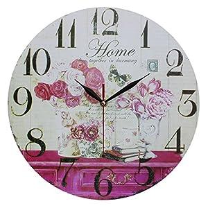 """Heim Dekor Antik-Stil Shabby Chic MDF Quartz Wanduhr mit """"Blumen und Home"""" Szene mit Dekorativen Minuten- und Stundenzeigern."""