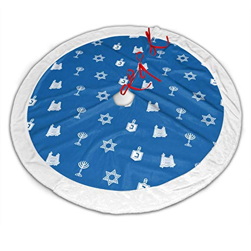 EEMNJIHH Hanukkah Motif Blue Christmas Tree Skirt with White Border, Xmas Tree Holiday Decorations