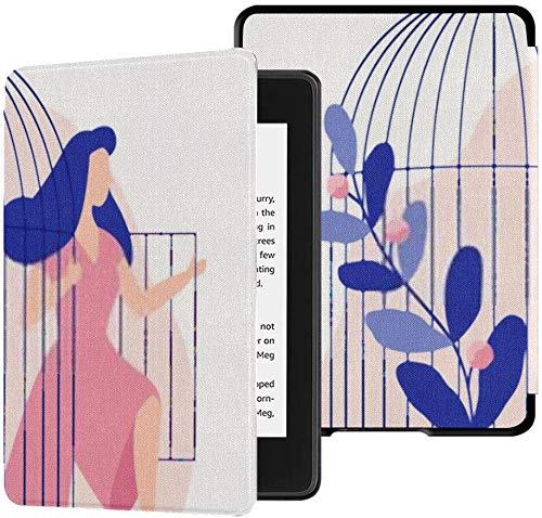 wasserdichte Stoffhülle Kindle Paperwhite (10. Generation, Version 2018), Junge Frau, kommt heraus Vogelkäfig Wird Tablet-Hülle