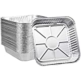 Aluminum Pans Disposable, 8x8 [50 Pack] Aluminum Foil Meal Prep Cookware Square Pans, Perfect for Cooking, Heating, Storing, Prepping Food