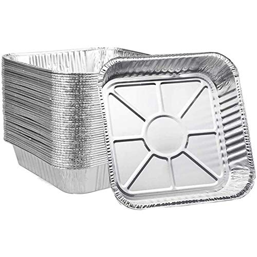 Ailelan Aluminum Pans Disposable, 50-Pack 8x8 Aluminum Foil Pans, Disposable Takeout Pans Perfect for Cooking, Heating, Storing, Prepping Food