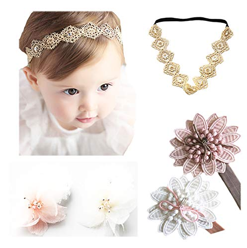 Baby Girl Super Elastic Headband Cotton Lace Toddler Hair Band Toddler Soft...