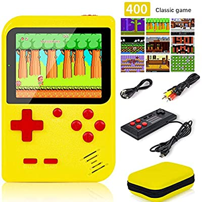 "Handheld Game Console, Retro Game Console with 400 FC Games (super Mario) 3 "" Color Screen,video games Support for Connecting TV & Two Players 800mAh Battery with protector case for Kids &Adult by kids-love"