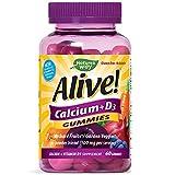 Nature's Way Alive! Premium Calcium + D3, Orchard Fruits/Garden Veggies Powder Blend, 60 Gummies