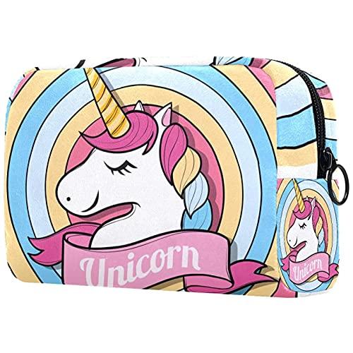 Happy Unicorn Face - Bolsa de maquillaje para bolso de viaje, neceser, organizador portátil, versátil con cremallera, para mujeres y niñas