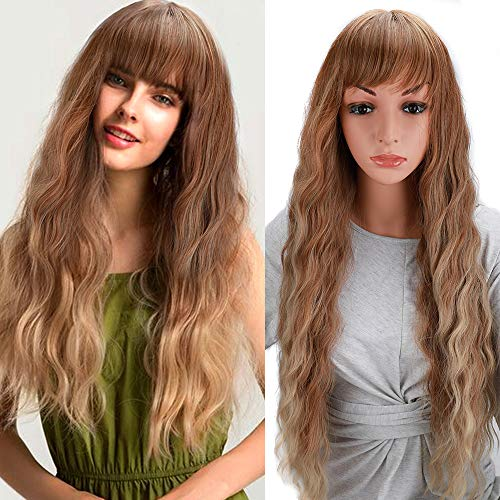 Sukri Long Wave Wig With Hair Bangs Full Hair Wig Heat Resistant Synthetic lace Rose Net For Women Natural Looking Machine Made Hair Replacement Wig For Party Cosplay Body Wavy