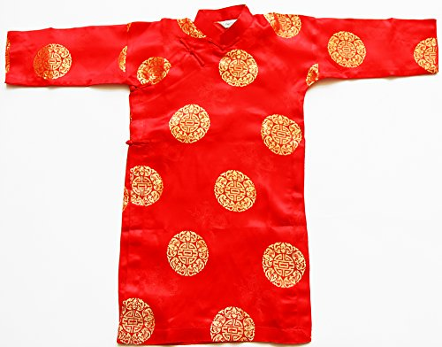Asia2you Ao Dai, Vietnamese Traditional Outfit for Boys - Red Silk Size#2