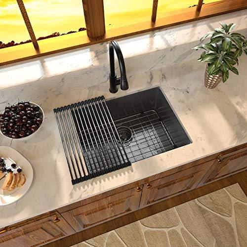 Stainless Black Undermount Sink - Sarlai 23 inch Bar Prep Sink...