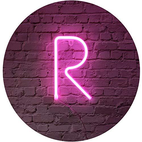 Rosa Neon Brief Leuchtreklamen Zeichen Nachtlicht LED Festzelt Buchstaben Neon Kunst Dekorative Lichter Wanddekor für Kinder Baby Zimmer Weihnachten Hochzeit Dekoration (R)